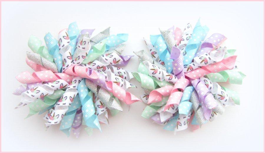 Pastel Unicorn Glitter Korker Hair Bows