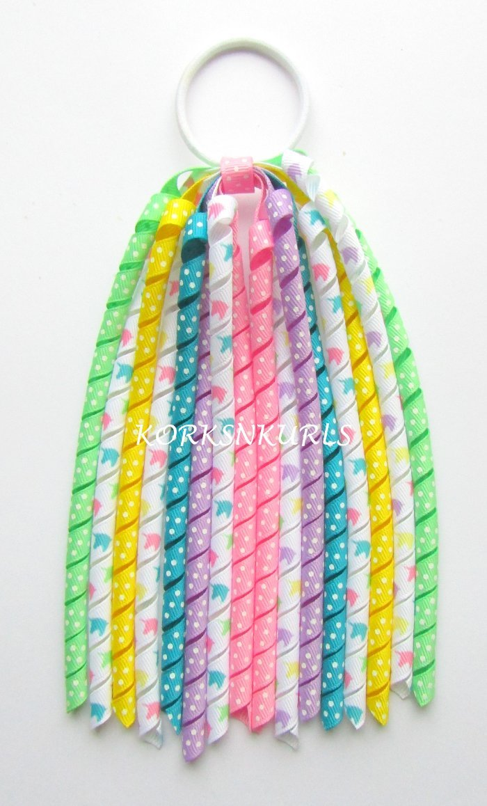 Bright Rainbow Unicorn Heads Dot Korker Ponytail Streamer