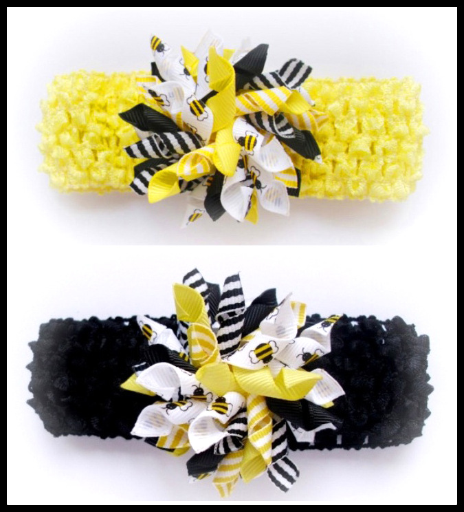 Black or Lemon Bee Korker Crochet Headband