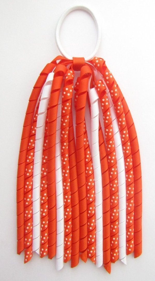 Autumn Orange Dot Korker Ponytail Streamer