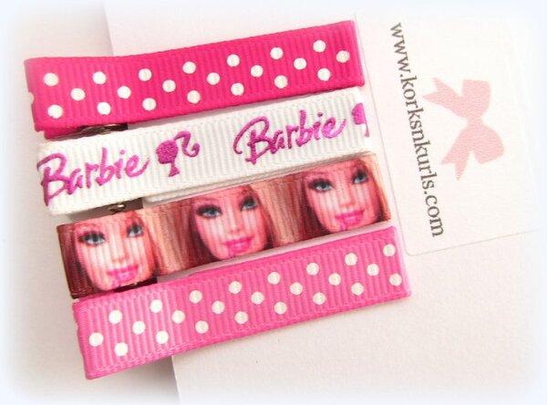 Barbie Shocking Pink Polka Dot Alligator Hair Clips Gift Set