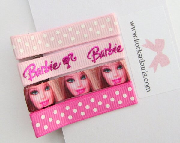 Barbie Hot & Pearl Pink Polka Dot Alligator Hair Clips Gift Set