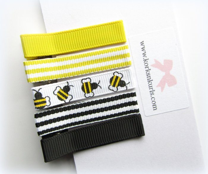 5 Bee Yellow Black Grosgrain Ribbon Patterns Alligator Clips Gift Set