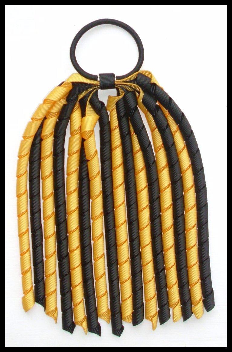 Black Yellow Gold Korker Ponytail Streamer