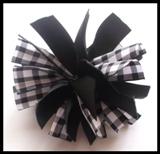 Black Gingham Firecracker Hair Bow