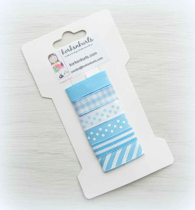 6 Blue Grosgrain Ribbon Covered 3cm Snap Hair Fringe Clips
