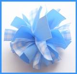 Blue Gingham Firecracker Hair Bow