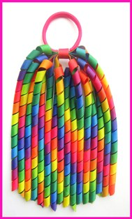 Bright Rainbow Ombre Korker Ponytail Streamer