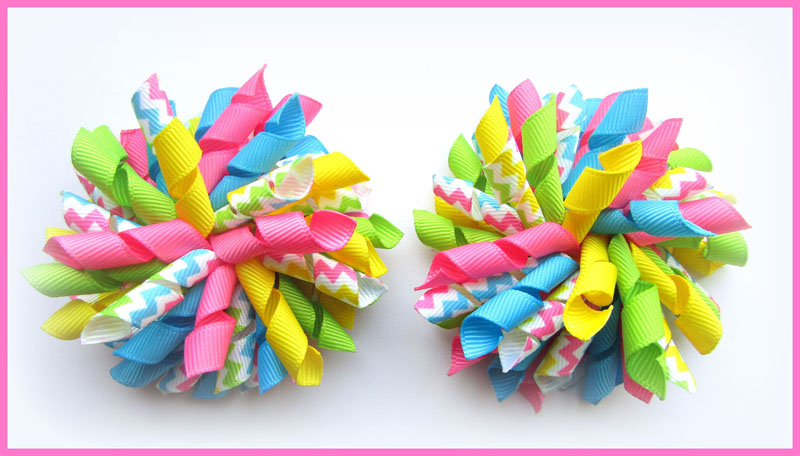 Bright Chevron Stripe Korker Hair Bows