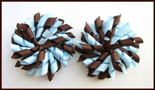 Brown Light Blue Korker Hair Bows