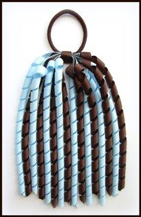 Brown Light Blue Korker Ponytail Streamer