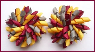 Burgundy Yellow Gold Dark Grey Korker Hair Bows