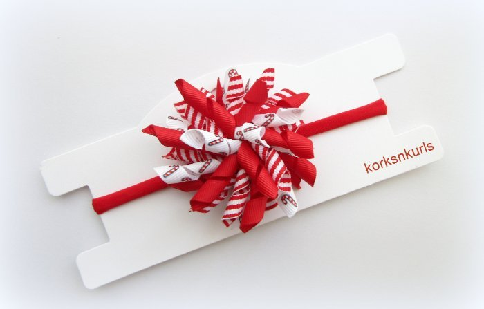 Christmas Candy Cane Stripe Baby Korker Nylon Headband