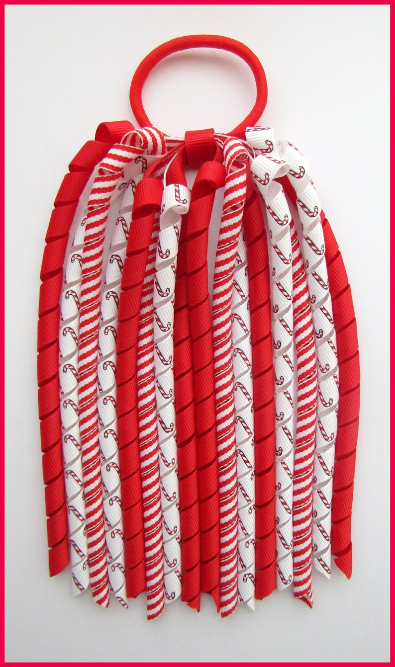 Christmas Candy Cane Stripe Korker Ponytail Streamer