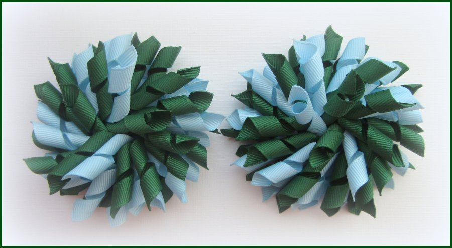 Dark Green Light Blue Korker Hair Bows
