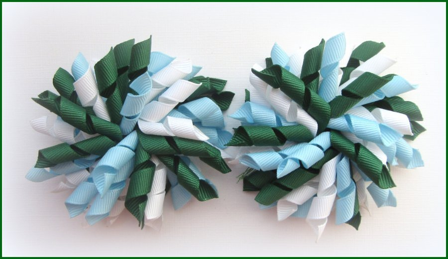 Dark Green Light Blue & White Korker Hair Bows