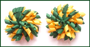 Dark Green Yellow Gold School Korker Hair Bows