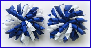 Dark Royal Blue White Korker Hair Bows
