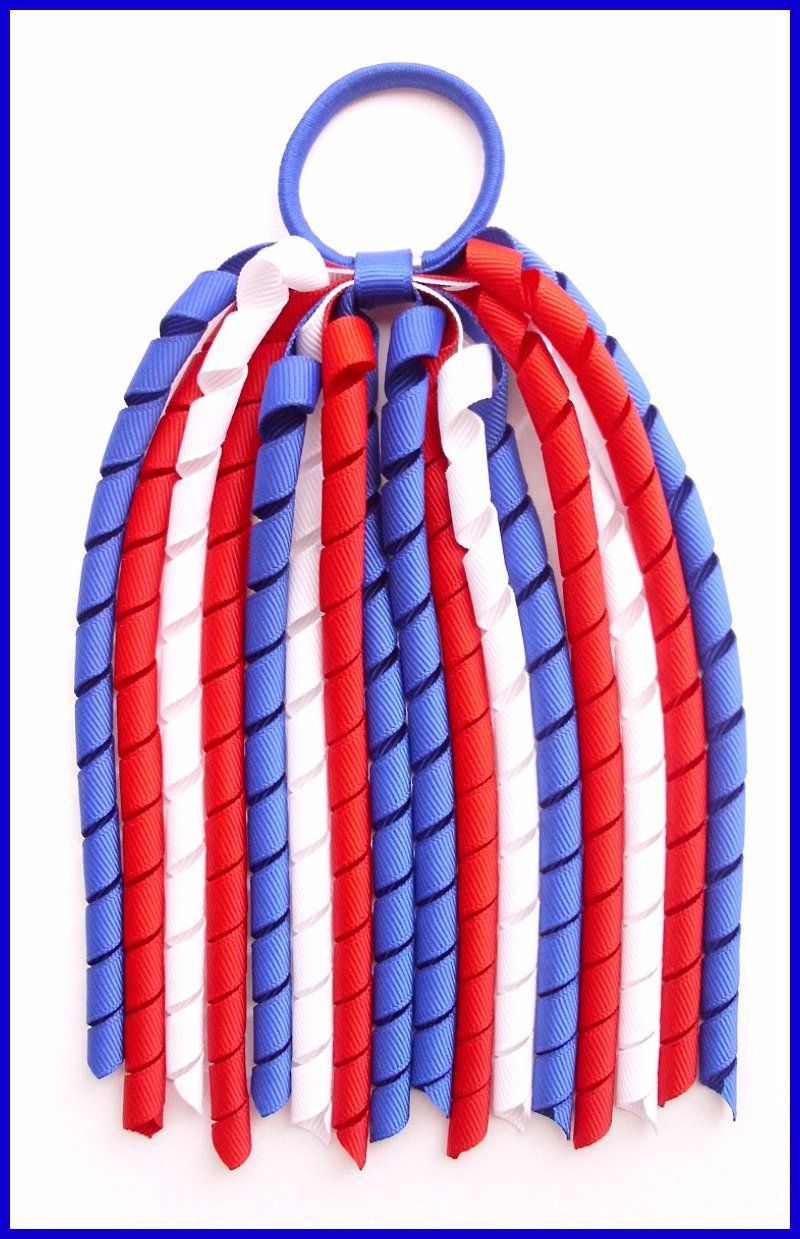 Dark Royal Blue Red White Korker Ponytail Streamer
