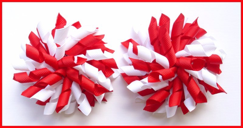 Red & White Korker Hair Bows
