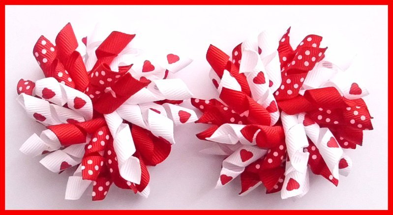 Valentine's Day Red White Love Heart Dot Korker Hair Bows