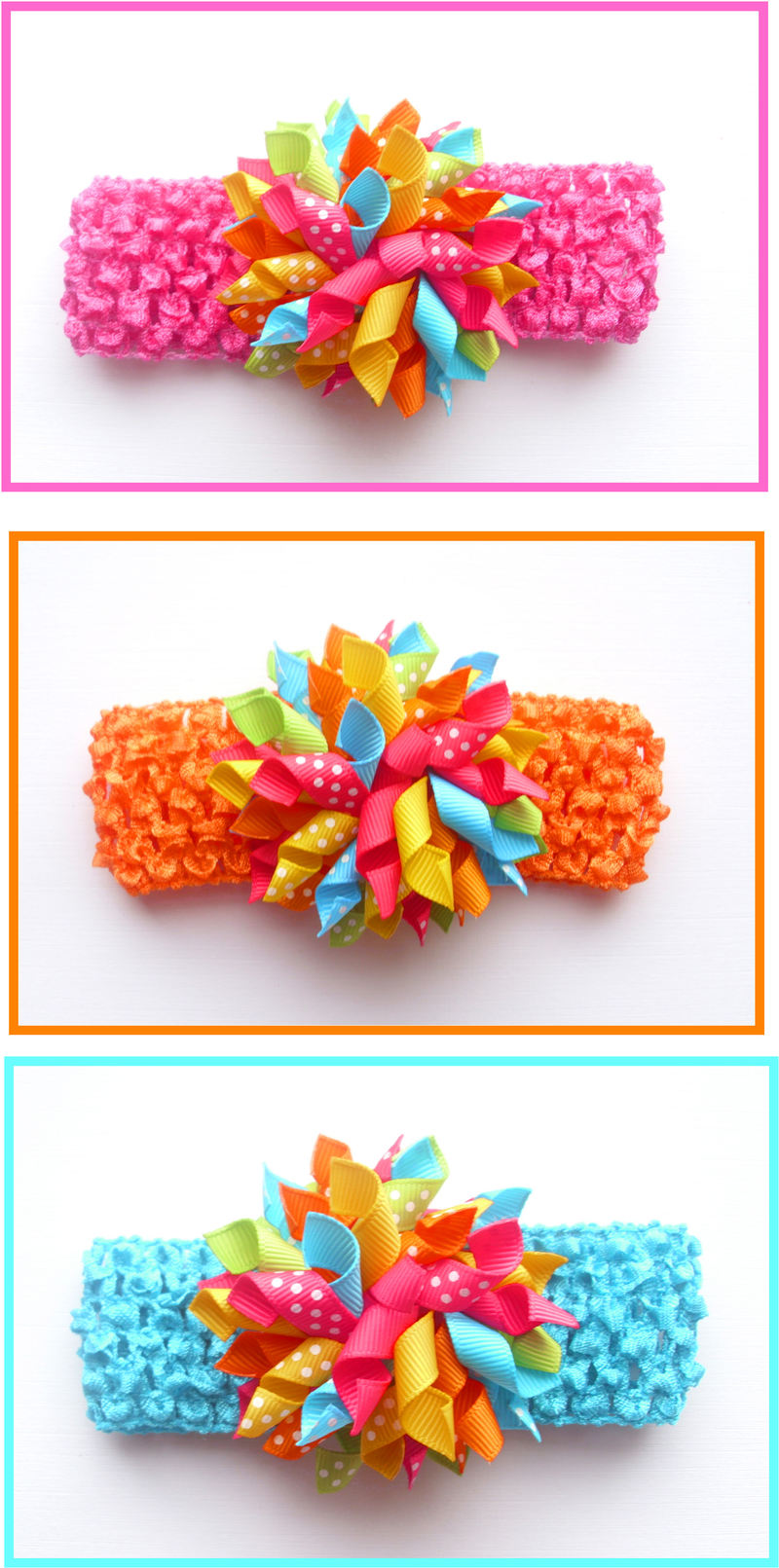 Bright Polka Dot Korker Crochet Headband