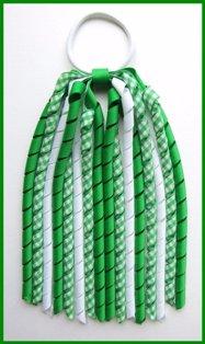 Emerald Green Gingham Korker Ponytail Streamer St Patrick's Day