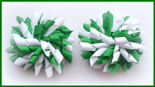 Emerald Green  White School Korker Hair Bows