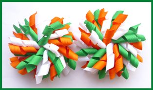 Emerald Green Orange White School Korker Hair Bows