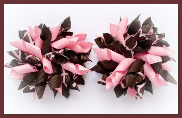 Giraffe Club Pink Brown Korker Hair Bows