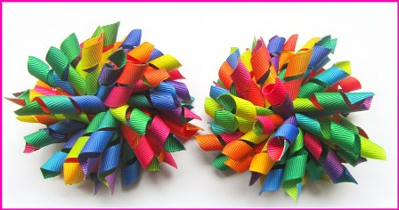 Bright Rainbow Groovy Ombre Korker Hair Bows