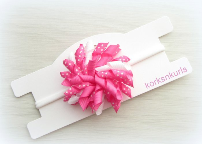 Hot Pink Polka Dot Baby Korker Nylon Headband