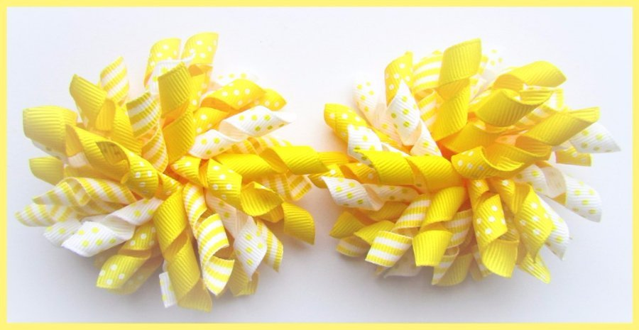Yellow Polka Dot Stripe Easter School Korker Hair Bows
