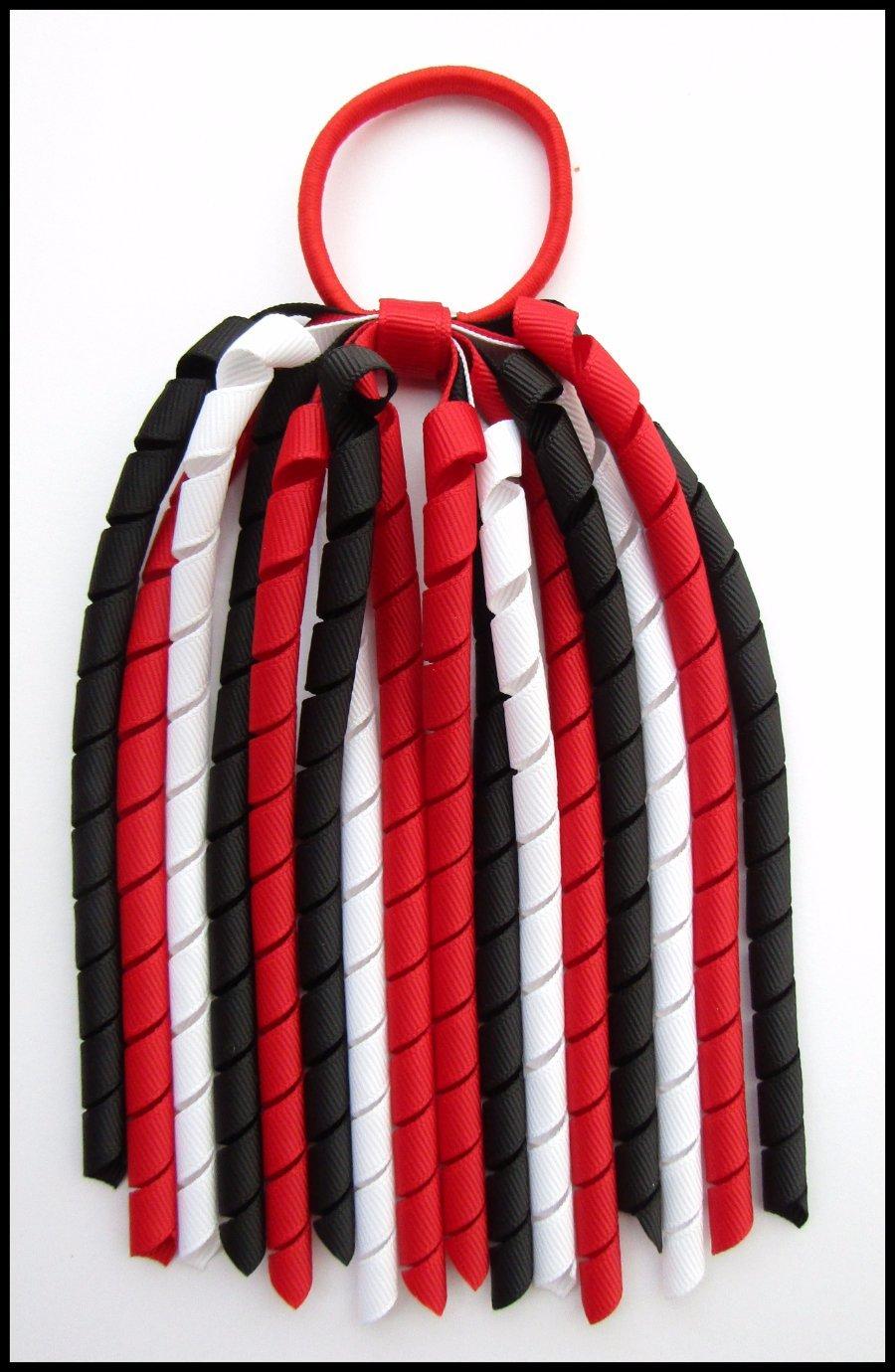 Red Black White Korker Ponytail Streamer