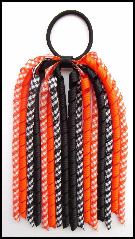 Orange Black Gingham Korker Ponytail Streamer