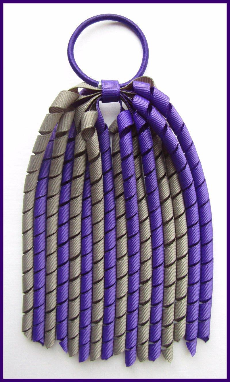 Dark Purple Dark Grey Korker Streamer Ponytail