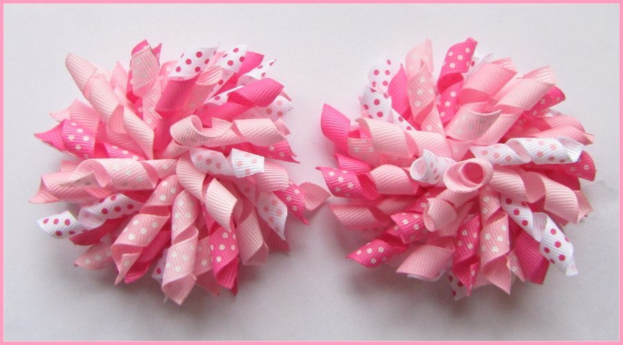 Multi Pink Polka Dot Korker Hair Bows
