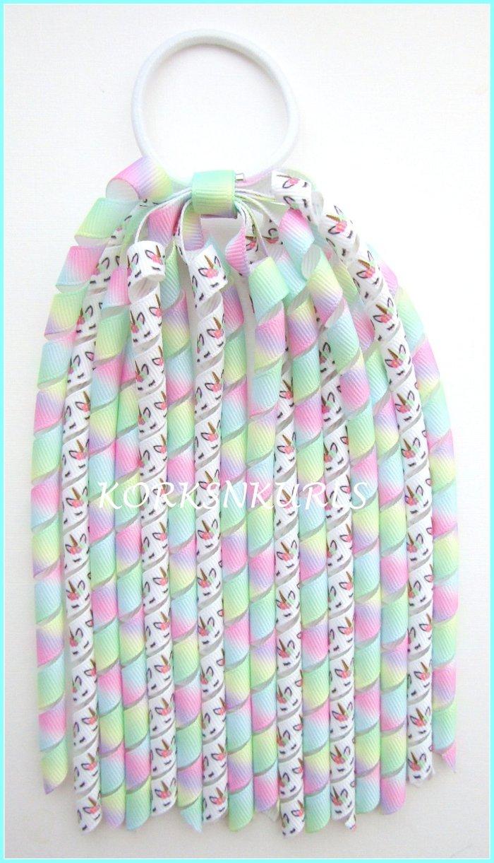 Pastel Tie Dye Rainbow Unicorn Korker Ponytail Streamer
