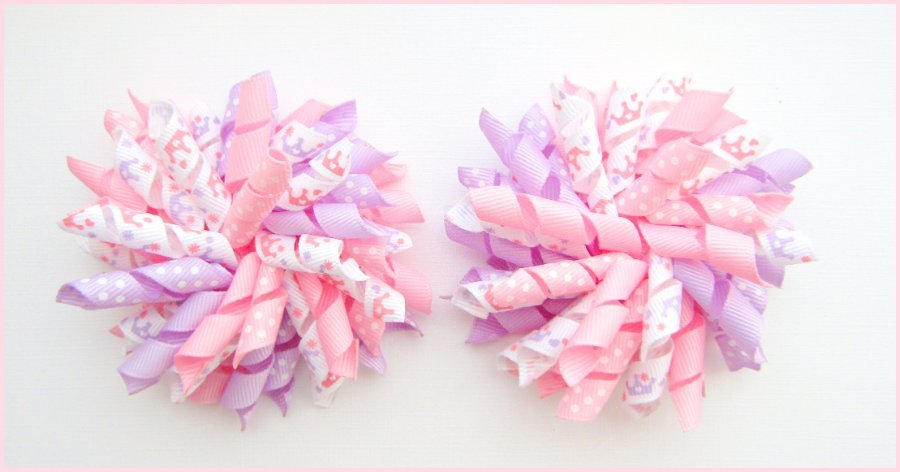 Pink & Lilac Princess Crown Tiara Korker Hair Bows