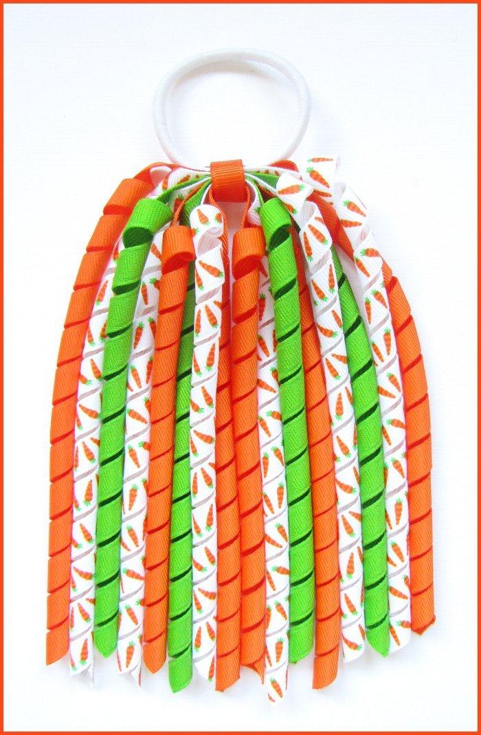 Crunchy Carrots Spring Easter Korker Streamer Ponytail