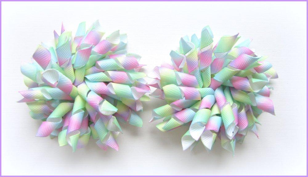 Pastel Rainbow Ombre Tie Dye Korker Hair Bows