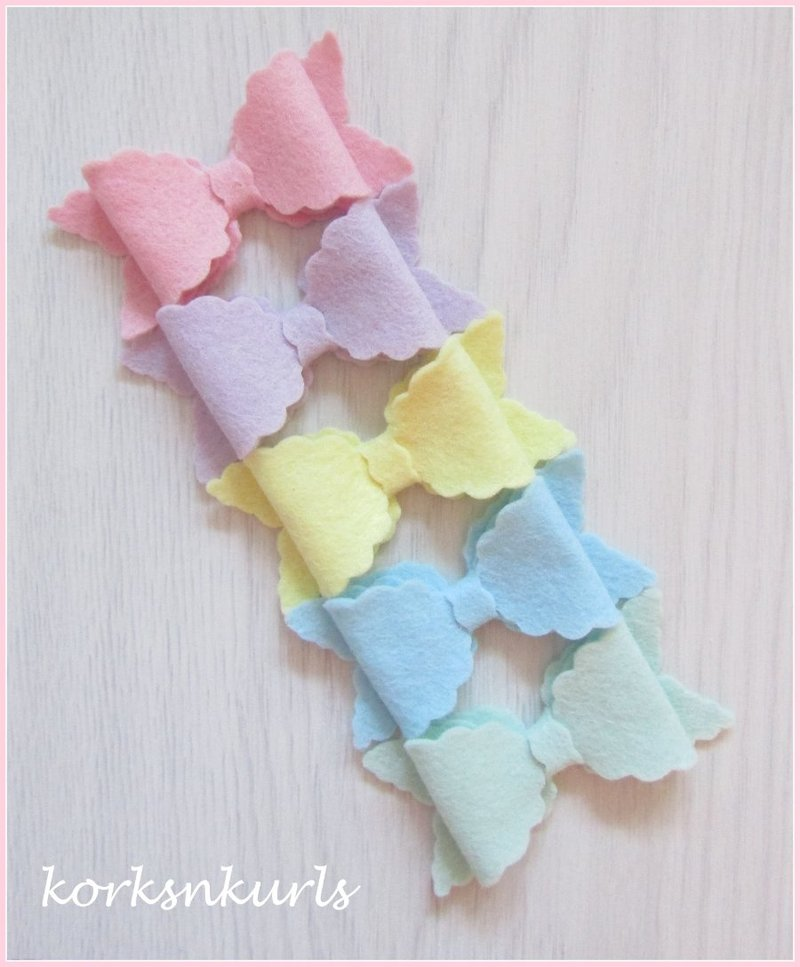 Pastel Easter Pink Lilac Lemon Blue Mint Small Scalloped Hair Bow Clip Set