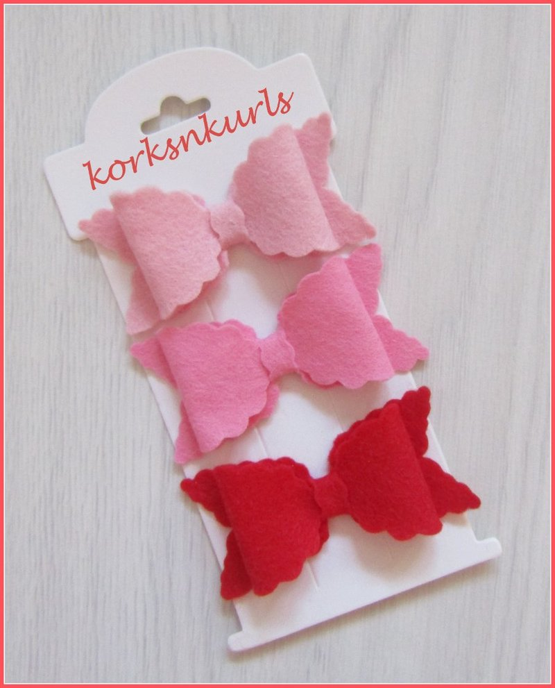 Valentine Pink Red Small Scalloped Hair Bow Clip Set