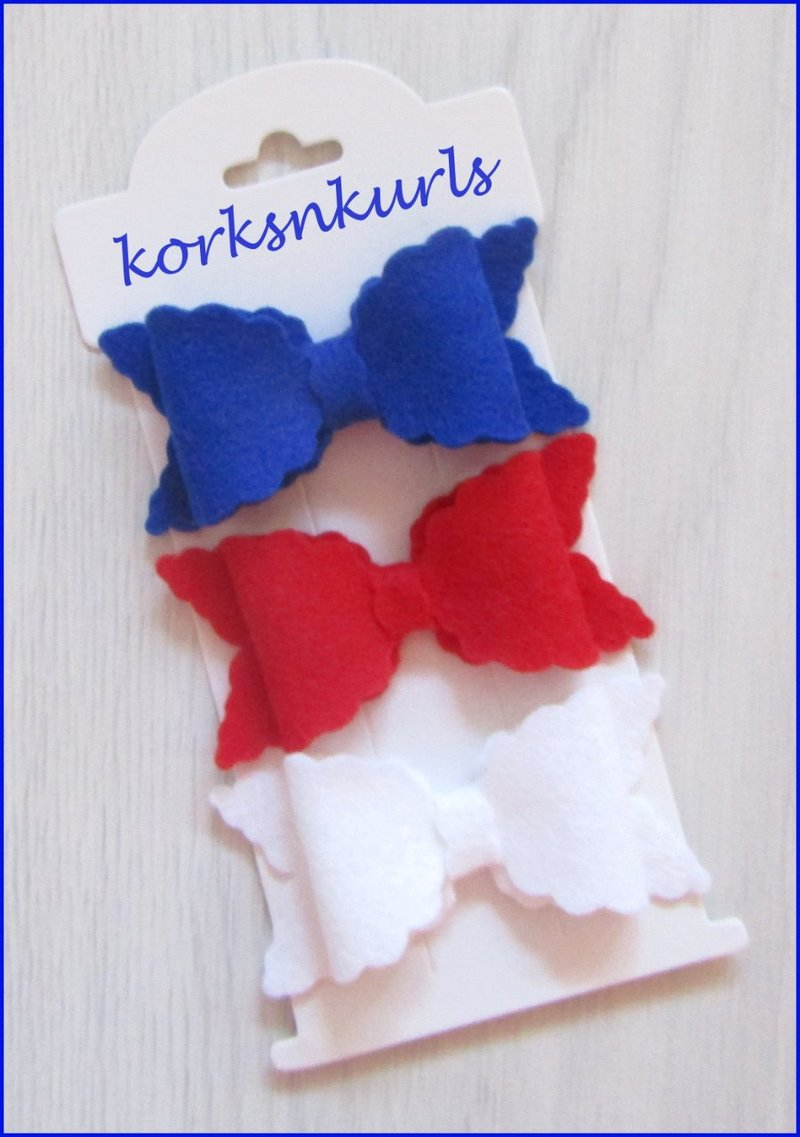 Royal Blue Red White Small Scalloped Hair Bow Clip Set