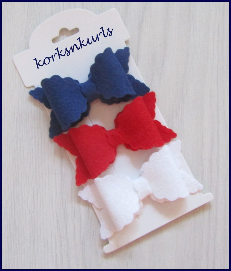 Navy Blue Red White Small Scalloped Hair Bow Clip Set
