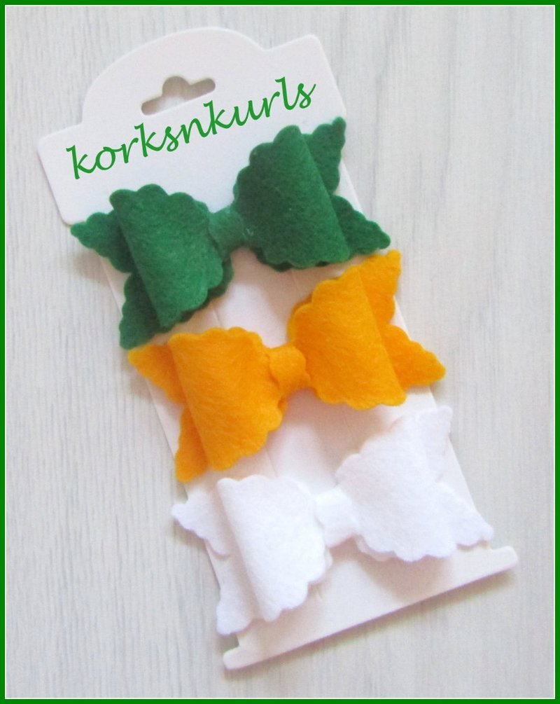 St Patrick's Day Green Gold White Small Scalloped Hair Bow Clip Set