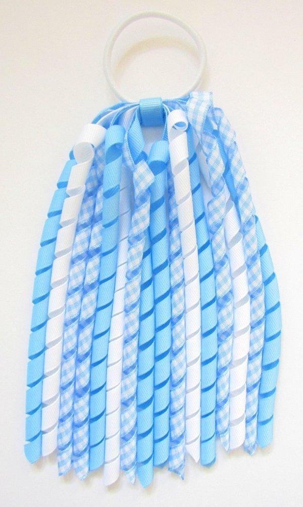 Blue Gingham Korker Ponytail Streamer