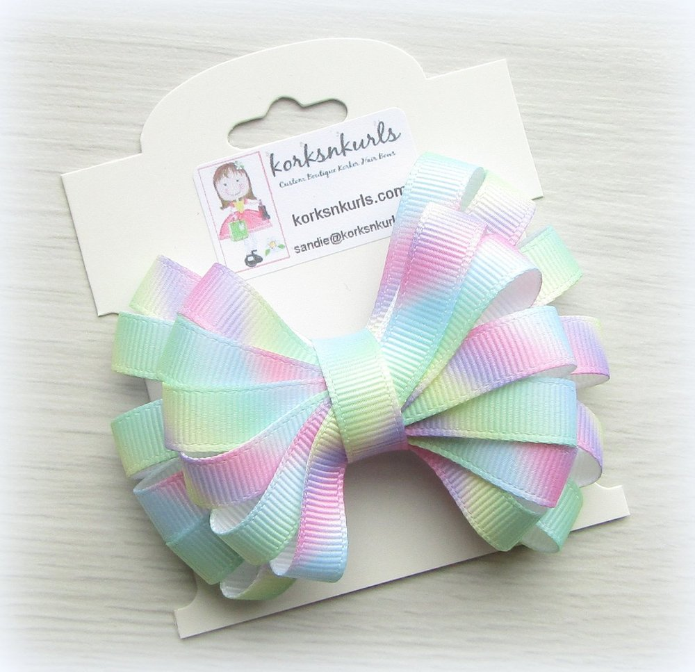 Tie Dye Pastel Ombre Ribbon Double Layered Loopy Hair Bow