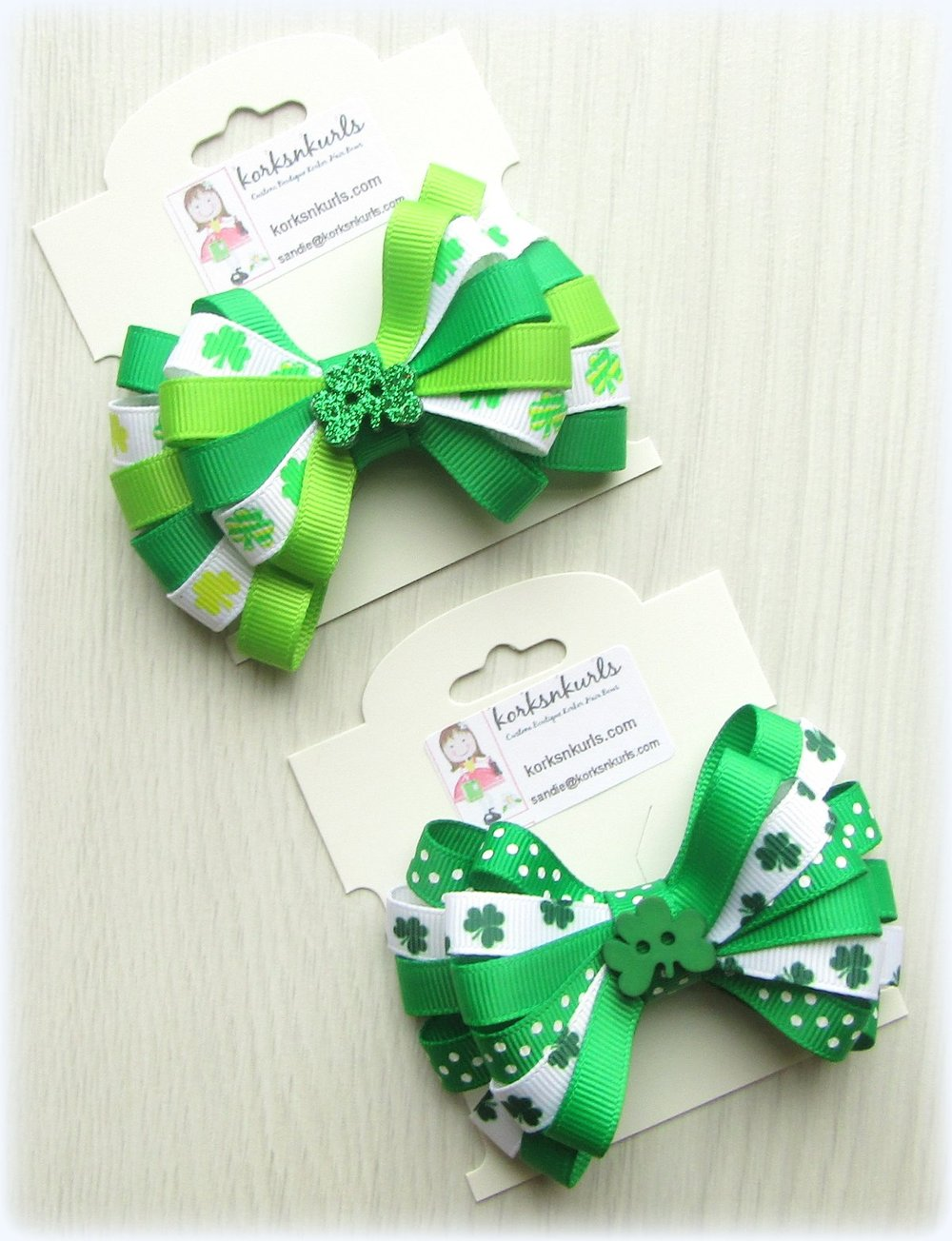 St Patrick's Day Clover Shamrock Ribbon Double Layered Loopy Hair Bow