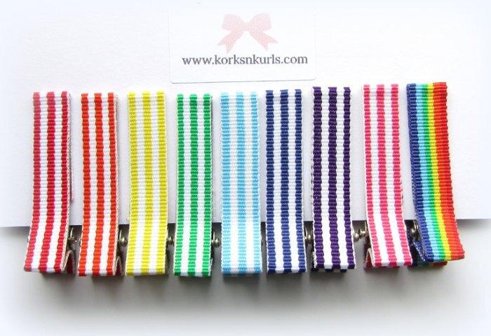 Rainbow Stripe Alligator Hair Clips Gift Set